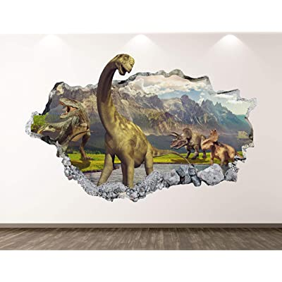 "West Mountain Dinosaur Wall Decal Art Decor 3D Smashed Animal Landscape Sticker Poster Kids Room Mural Custom Gift BL373 (22"" W x 14"" H): Home & Kitchen"