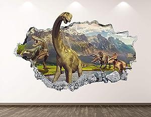 "West Mountain Dinosaur Wall Decal Art Decor 3D Smashed Animal Landscape Sticker Poster Kids Room Mural Custom Gift BL373 (30"" W x 18"" H)"