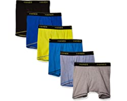 Hanes Boys' Cool Comfort Breathable Mesh Boxer Brief 6-Pack Assorted Color