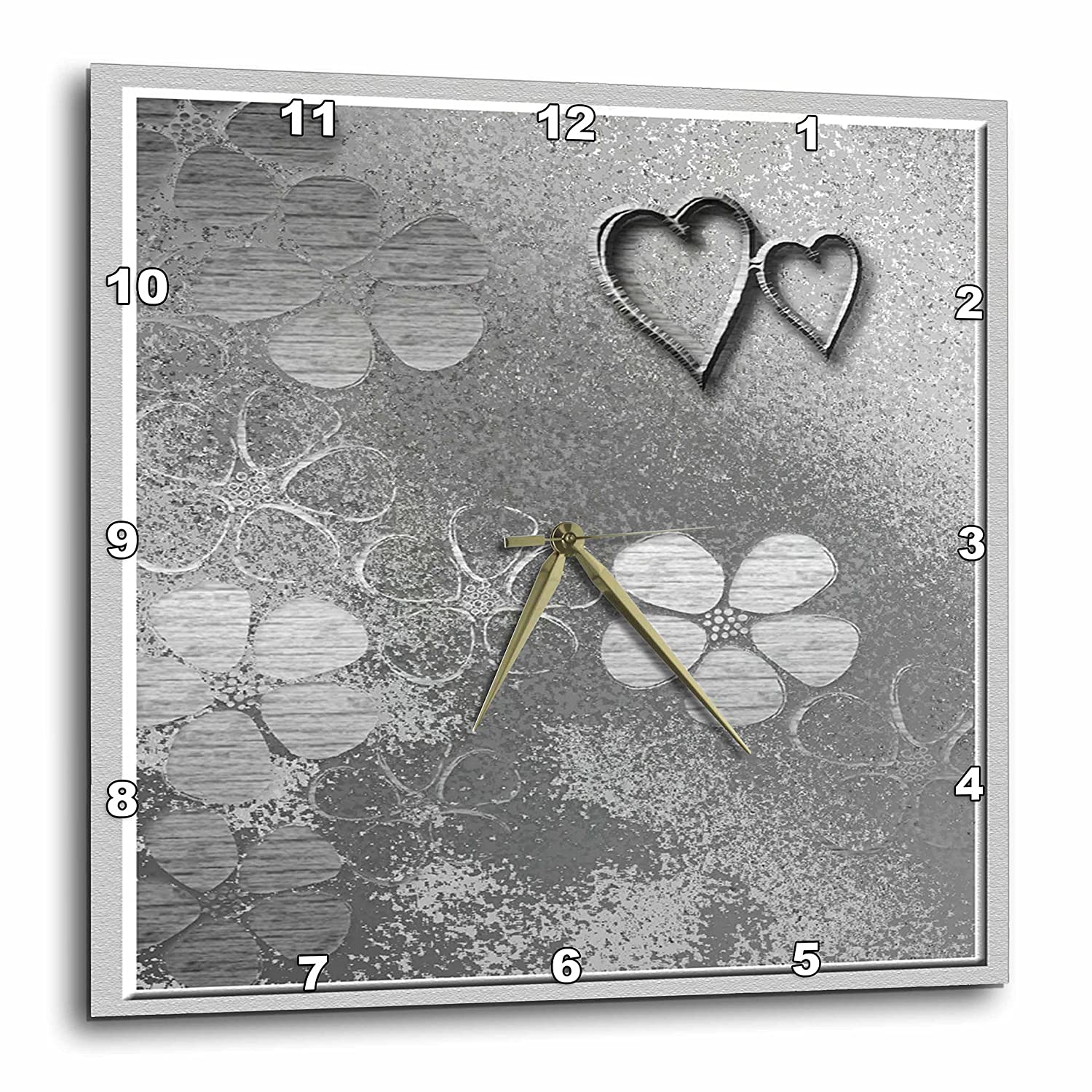 Two Silver Heart with Flowers 3dRose dpp/_15250/_1 Wall Clock 10 by 10-Inch 3D Rose