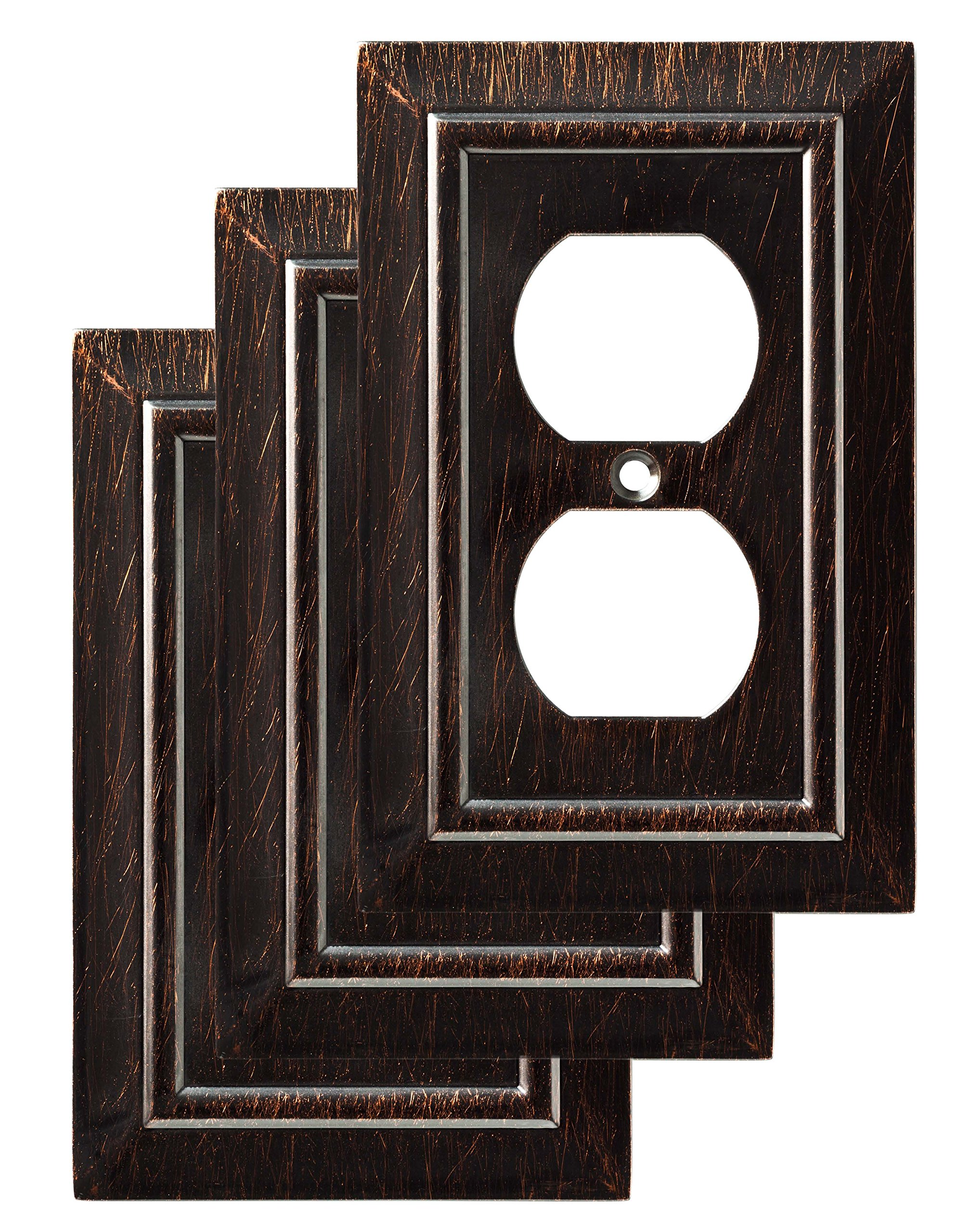 Franklin Brass W35218V-VBR-C Classic Architecture Single Duplex Wall Plate/Switch Plate/Cover (3 Pack), Venetian Bronze