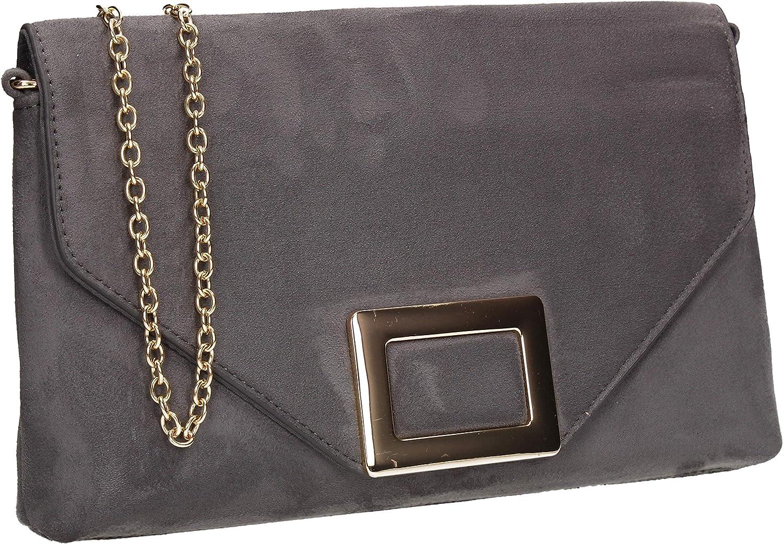 SWANKYSWANS Georgia Faux Suede Metal Detail Clutch Bag