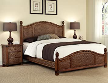 Amazon.com: Marco Island Cinnamon Queen Bed & Night Stand by ...