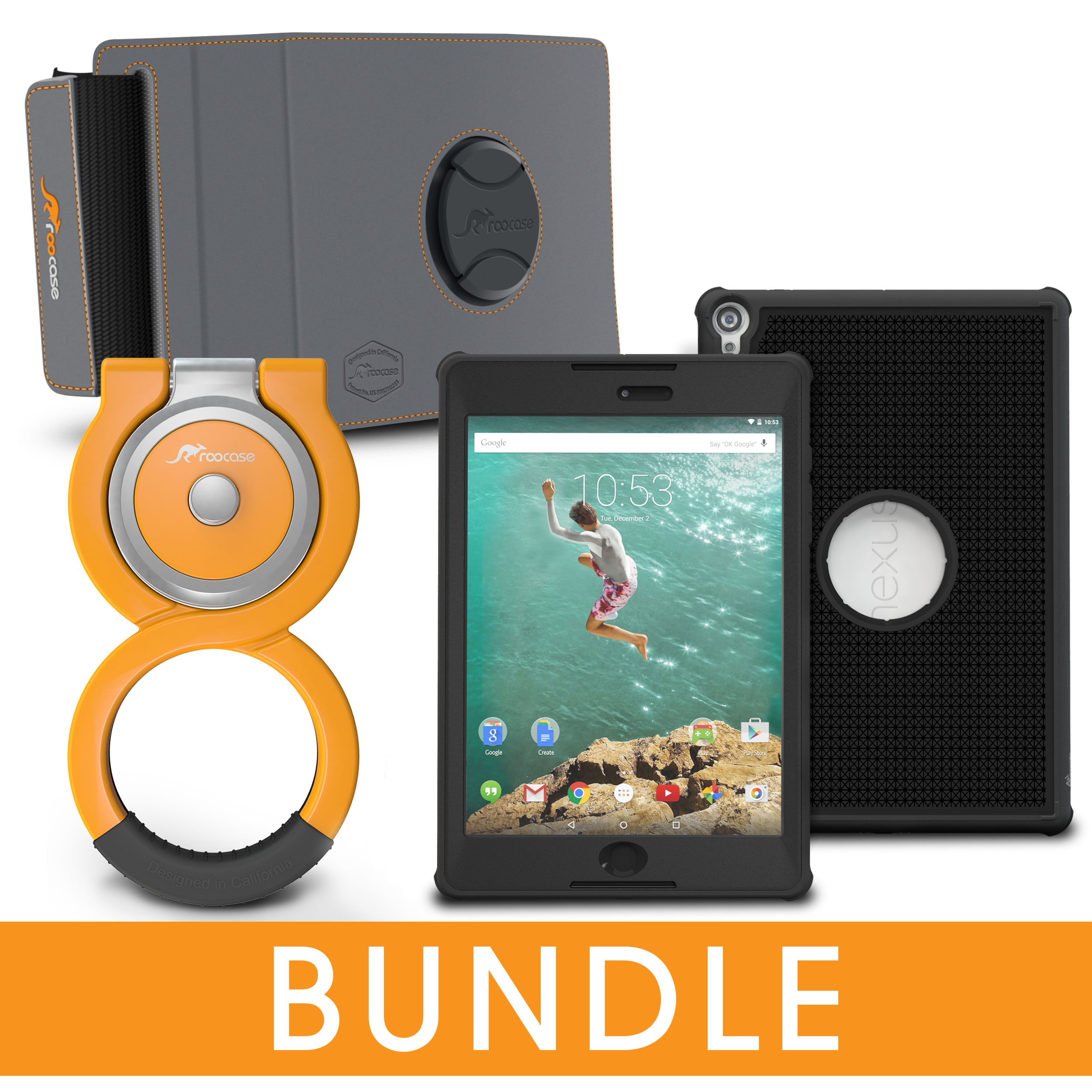 roocase Nexus 9 Orb Bundle, Versa Tough Full Body Case for Google Nexus 9 Case , Granite Black by rooCASE