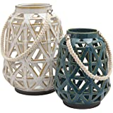 Amazon Brand – Stone & Beam Modern Farmhouse Decorative Candle Holder Lantern with Cutouts - Set of 2, Cream and Blue