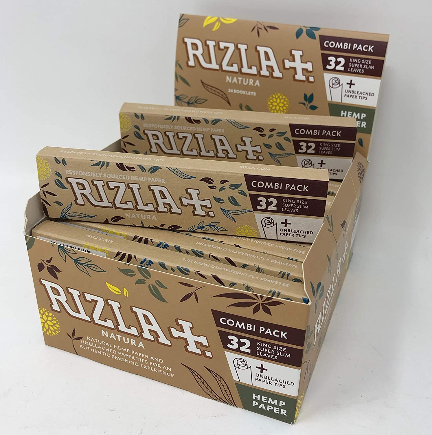10 Packs Rizla King Size Natura Combi Pack with Rizlas First Roach Tips