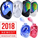Face Snorkel Mask - Scuba Diving Face Mask - 180 Panoramic Seaview Snorkel Mask - Best Full Face Mask - Face Snorkel Mask for Women Men Kids Boys Girls Adult Children - Underwater Surface Snorkeling