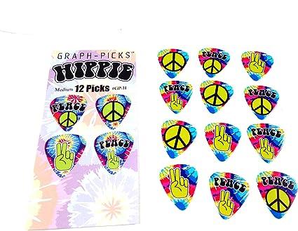 Púas para guitarra Hippie 60 de paz y amor 12 unidades (1 docena ...