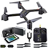 SHARPER IMAGE FPV VR Quadcopter Drone DX 14.4 Inch Model with Live Camera Streaming and Virtual Reality Smartphone Viewer Headset, High Def 720p Video, Easy-to-Perform Stunt Controls, Phone Mount