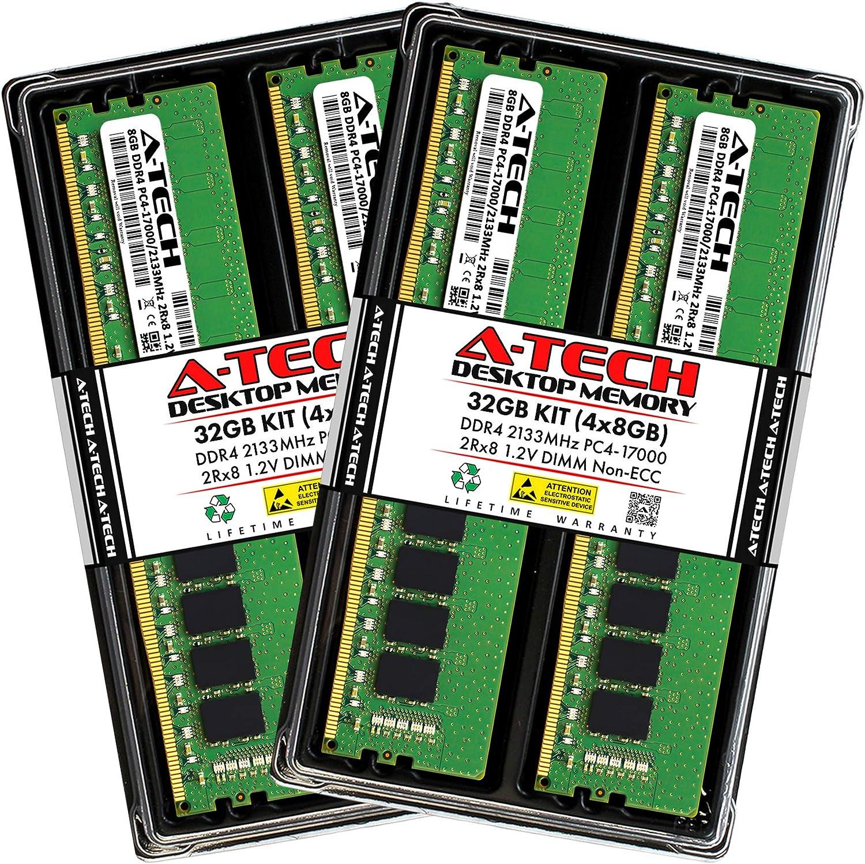 A-Tech 32GB (4x8GB) DDR4 2133MHz DIMM PC4-17000 UDIMM Non-ECC 2Rx8 1.2V CL15 288-Pin Desktop Computer RAM Memory Upgrade Kit