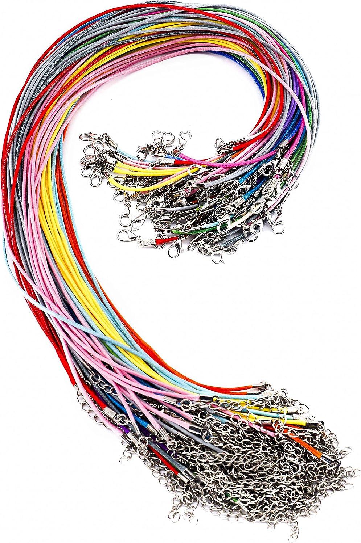 Cuerda de Collar y Cuerda de Cuero con Cadena de Extensión y Cierre de Langosta para la joyería que hace Colores Mixtos 100 Piezas