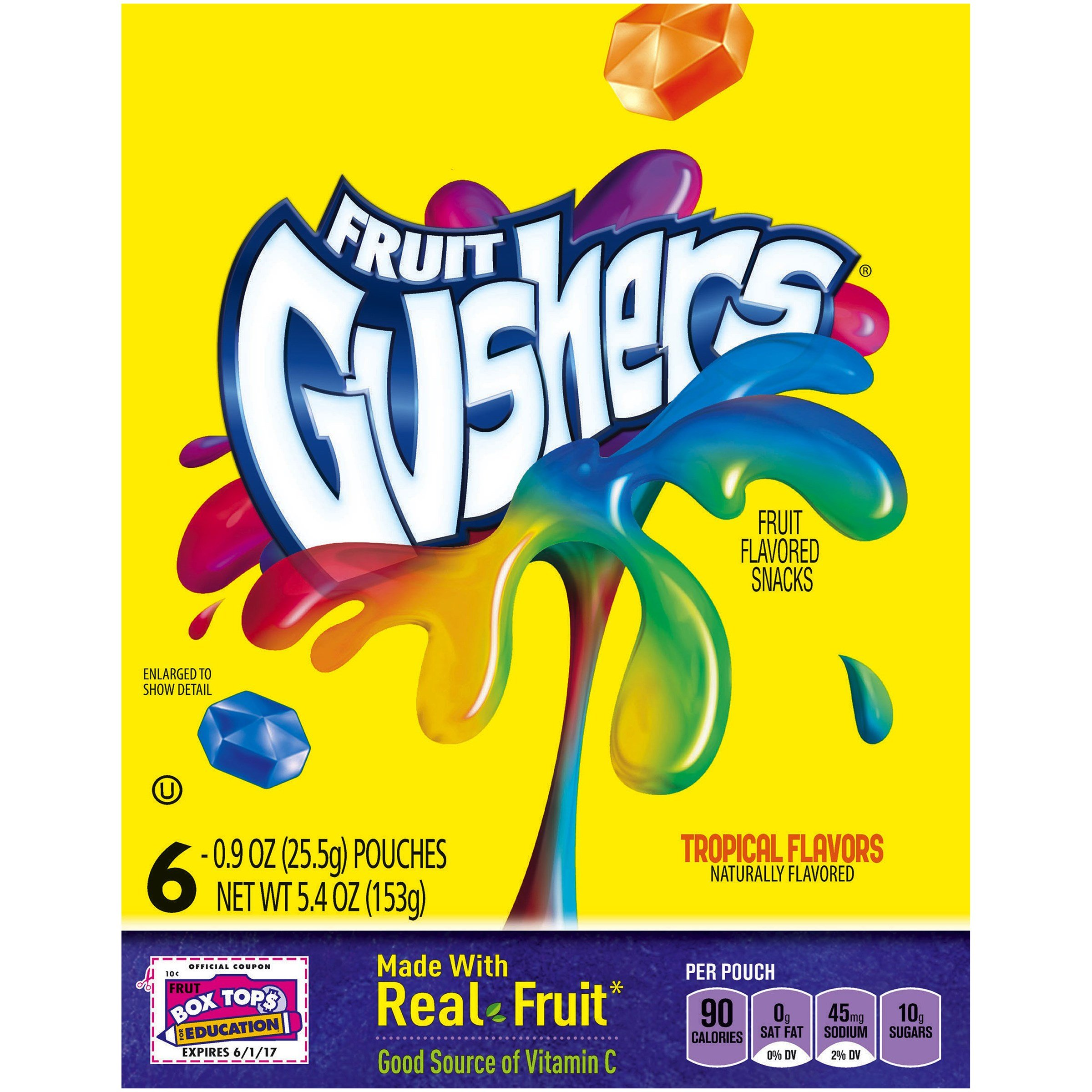 Fruit Gushers Tropical Flavors 4.5 oz (Pack of 10)