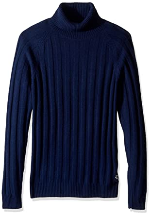 GANT Men's Ribbed Turtleneck Sweater, Marine, Small at Amazon ...