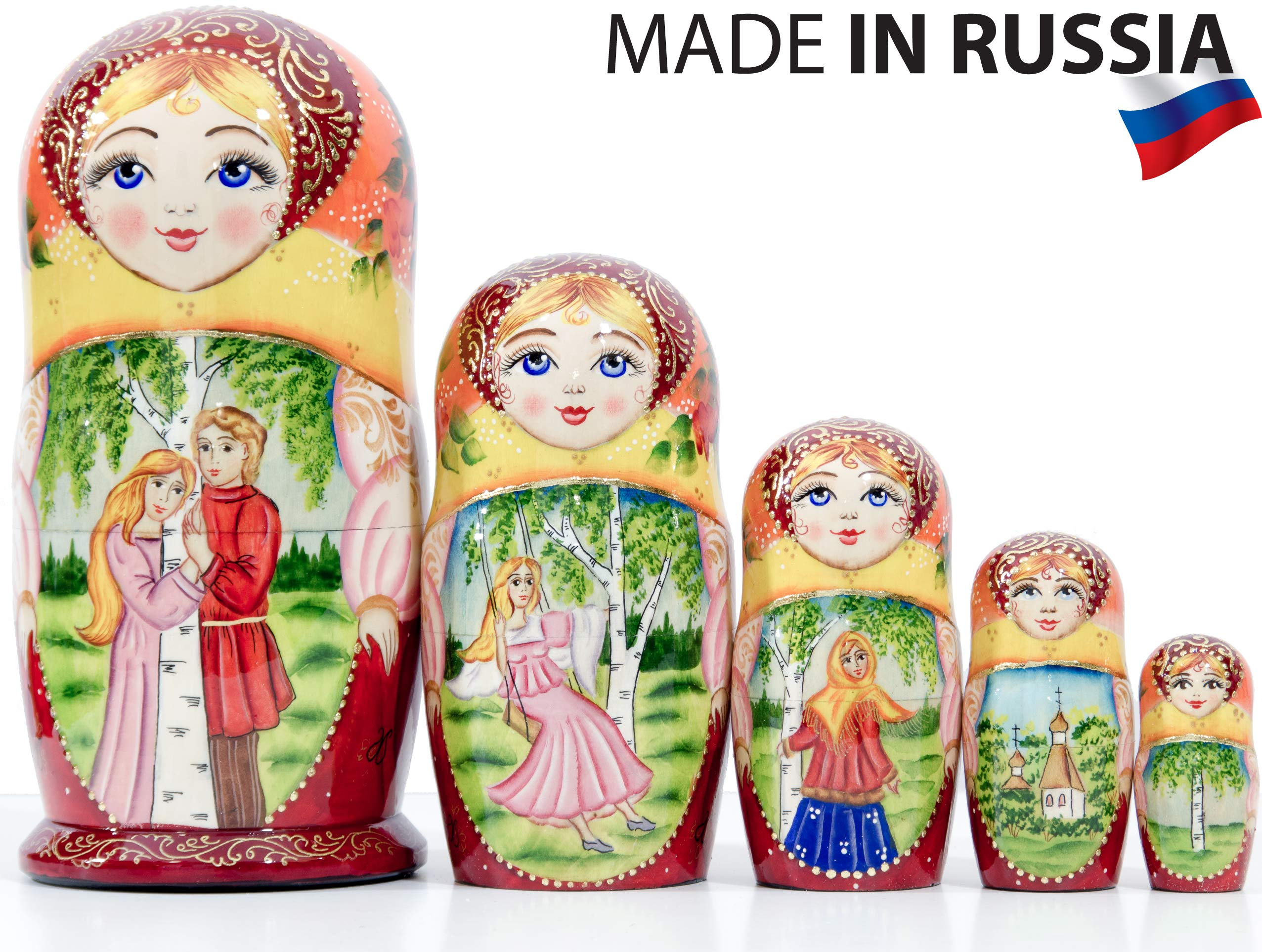 Russian Nesting Doll - Village Scenes - Hand Painted in Russia - 5 Color/Size Variations - Traditional Matryoshka Babushka (6.75``(5 Dolls in 1), Scene L) by craftsfromrussia (Image #4)