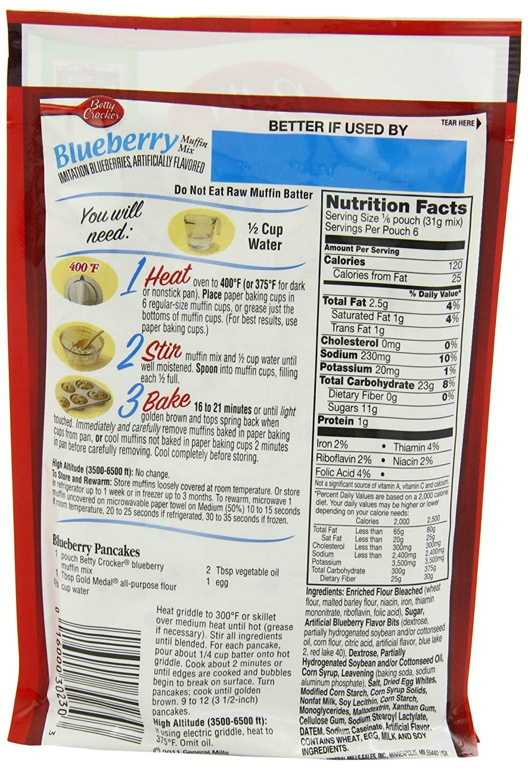 Amazon.com : Betty Crocker Blueberry Muffin Mix, 6.5 oz Pouch ...