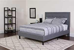 Flash Furniture Roxbury Queen Size Tufted Upholstered Platform Bed in Light Gray Fabric