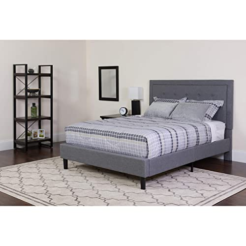 Flash Furniture Roxbury King Size Tufted Upholstered Platform Bed in Light Gray Fabric, SL-BK5-K-LG-GG