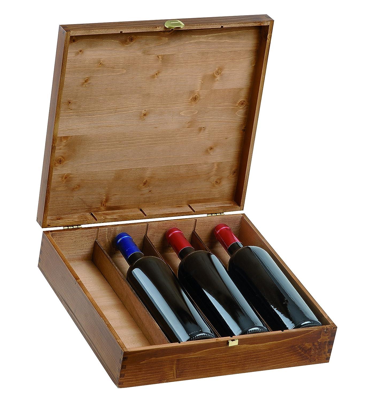 Renoir - Cassetta Vino in Betulla Verniciata per 4 Bottiglie - Ideale per Confezioni Regalo