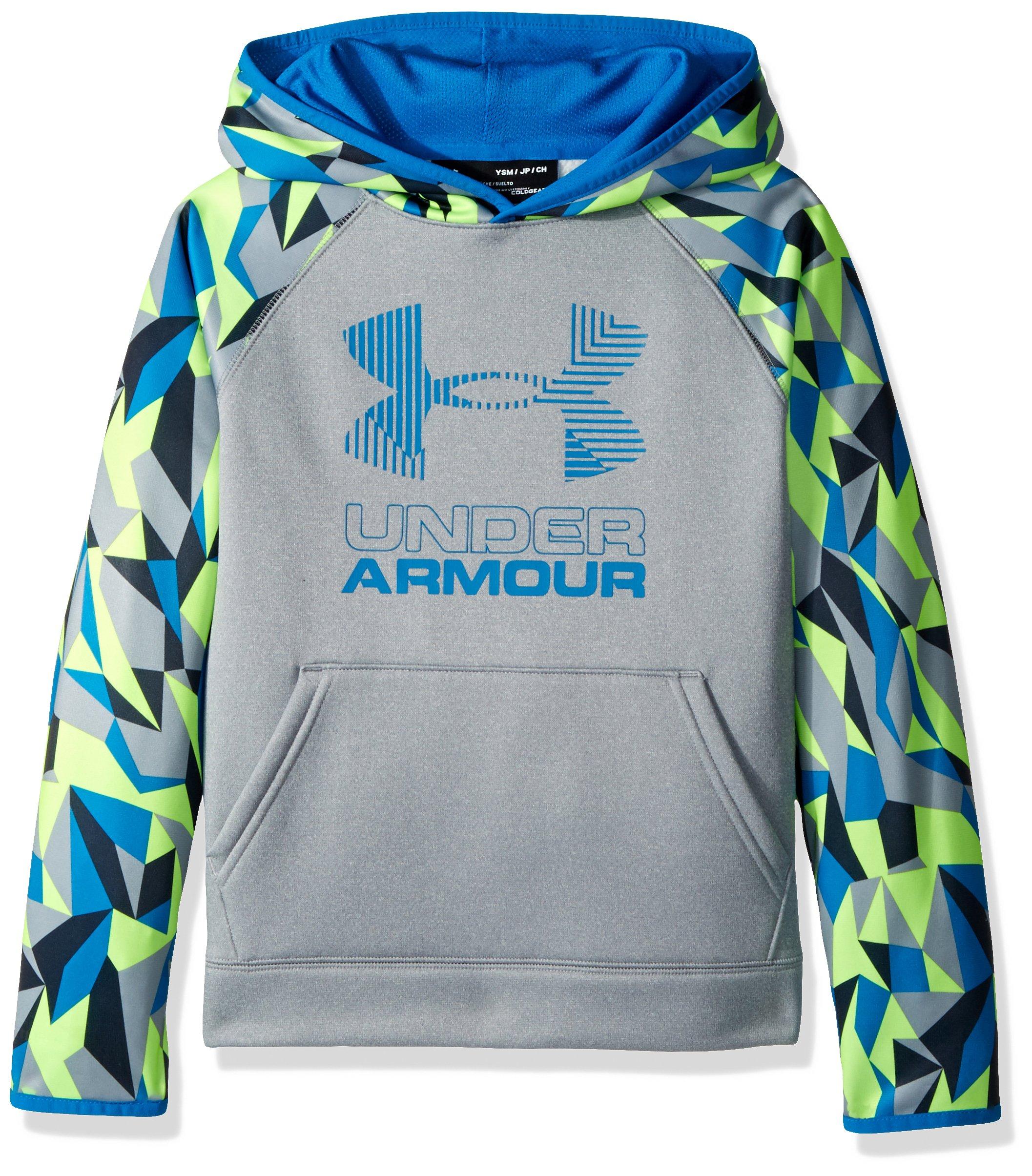 Under Armour Boys' Armour Fleece Printed Big Logo Hoodie, Steel Light Heather /Cruise Blue, Youth X-Small