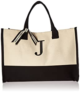 Mud Pie J-Initial Canvas Tote