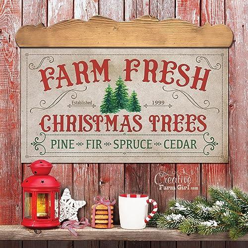 Amazon Com Farm Fresh Christmas Trees Sign Christmas Sign Perfect