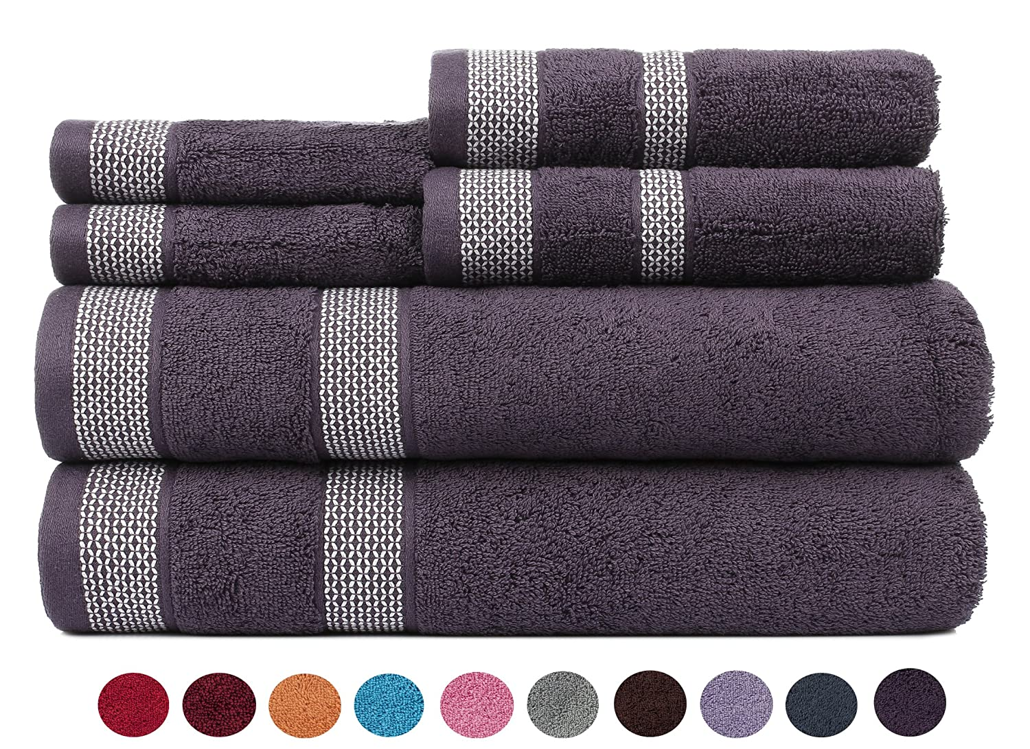 CASA COPENHAGEN Solitaire Cotton 17.70 oz//yd/² Thick 6 Pack Hand Towel Set Italian Plum