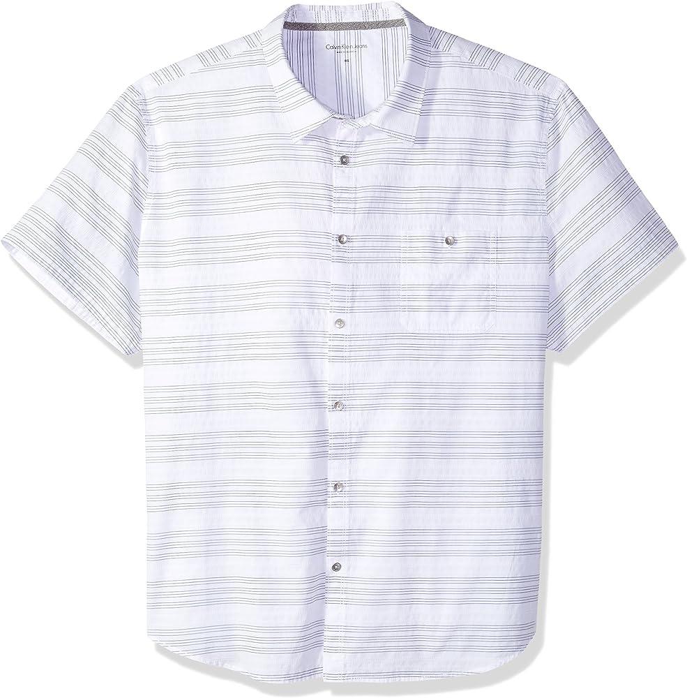 Calvin Klein Hombre 41G7201 Manga Corta Camisa de Botones - Blanco - XX-Large: Amazon.es: Ropa y accesorios