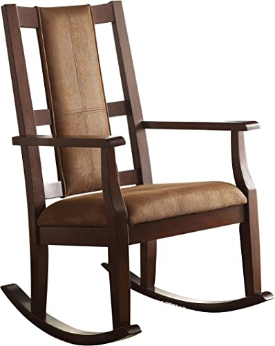 ACME Furniture Butsea Rocking Chair, Brown Fabric Espresso
