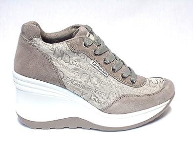Calvin Klein Jeans Sneakers Scarpe Donna Casual Sportive Zeppa R1495IVY   Amazon.it  Scarpe e borse 0c74f06beba
