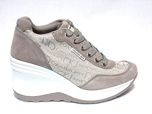 more photos bbb9d d5858 Calvin klein Sneaker Wedge cm 8 Woman Joy Jacquard Logo Suede Ivory