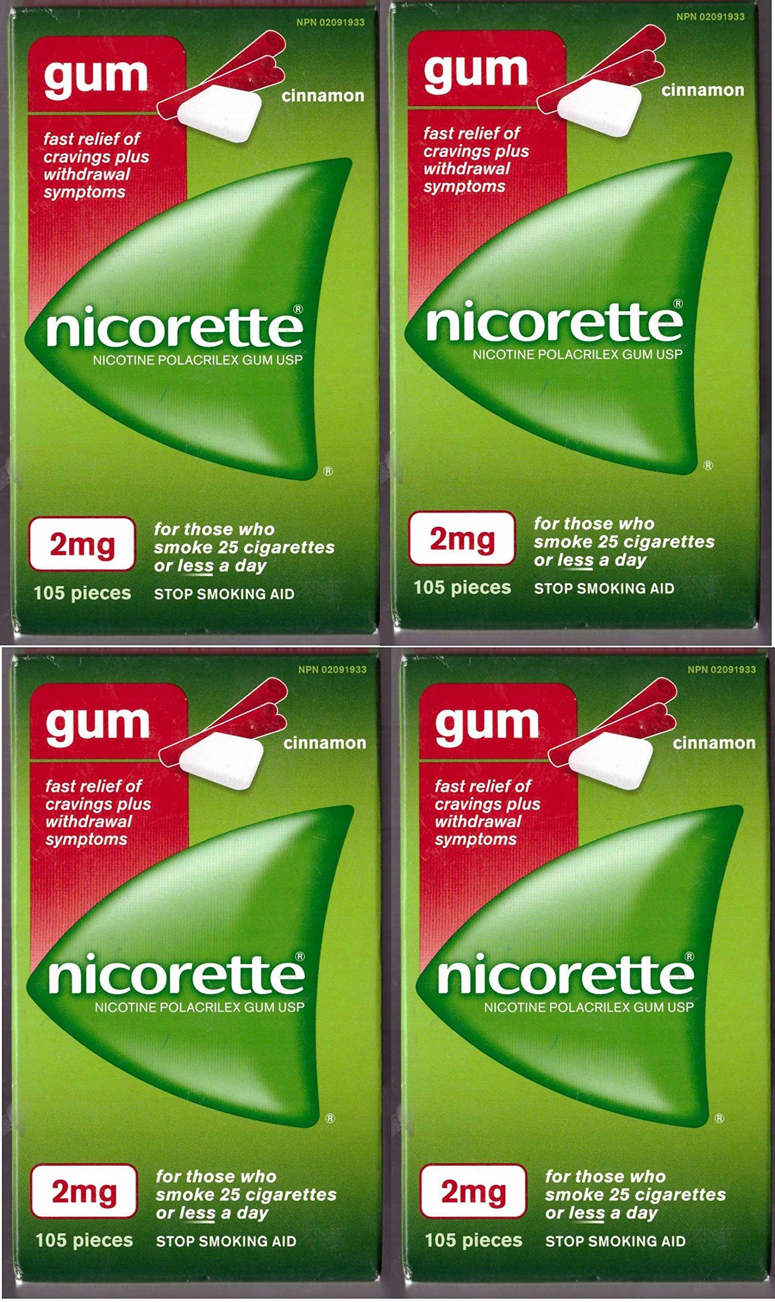 Nicorette Nicotine Gum: CINNAMON 2 MG (4 packs of 105, 420 Pieces) (Stop Smoking Aid)