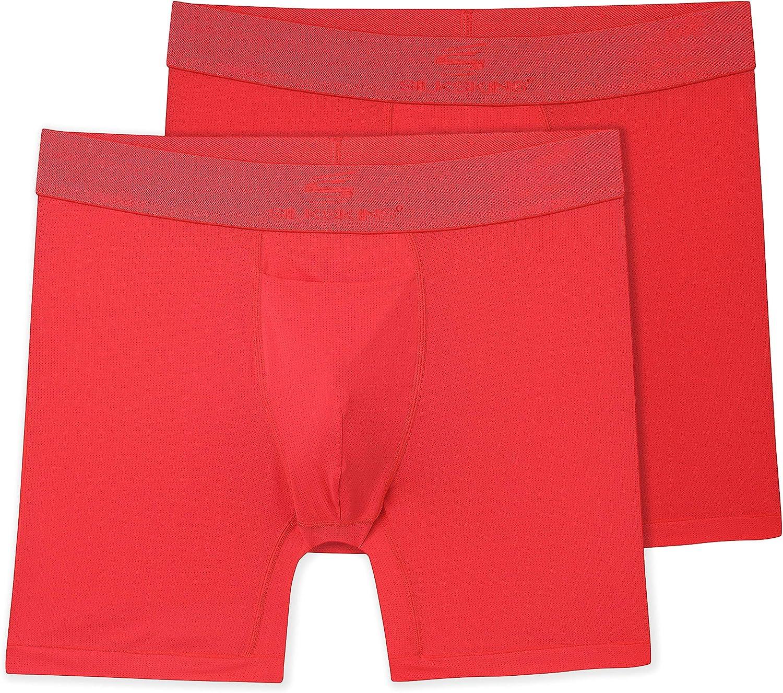 """Terramar Men's Silkskins 6"""" Boxer Briefs, Red, 2 Pack"""