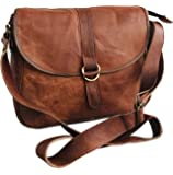 Handmade Women Shoulder Bag Vintage Rustic Retro Style Genuine Brown Leather Tote Cross Body Travel Purse Bag