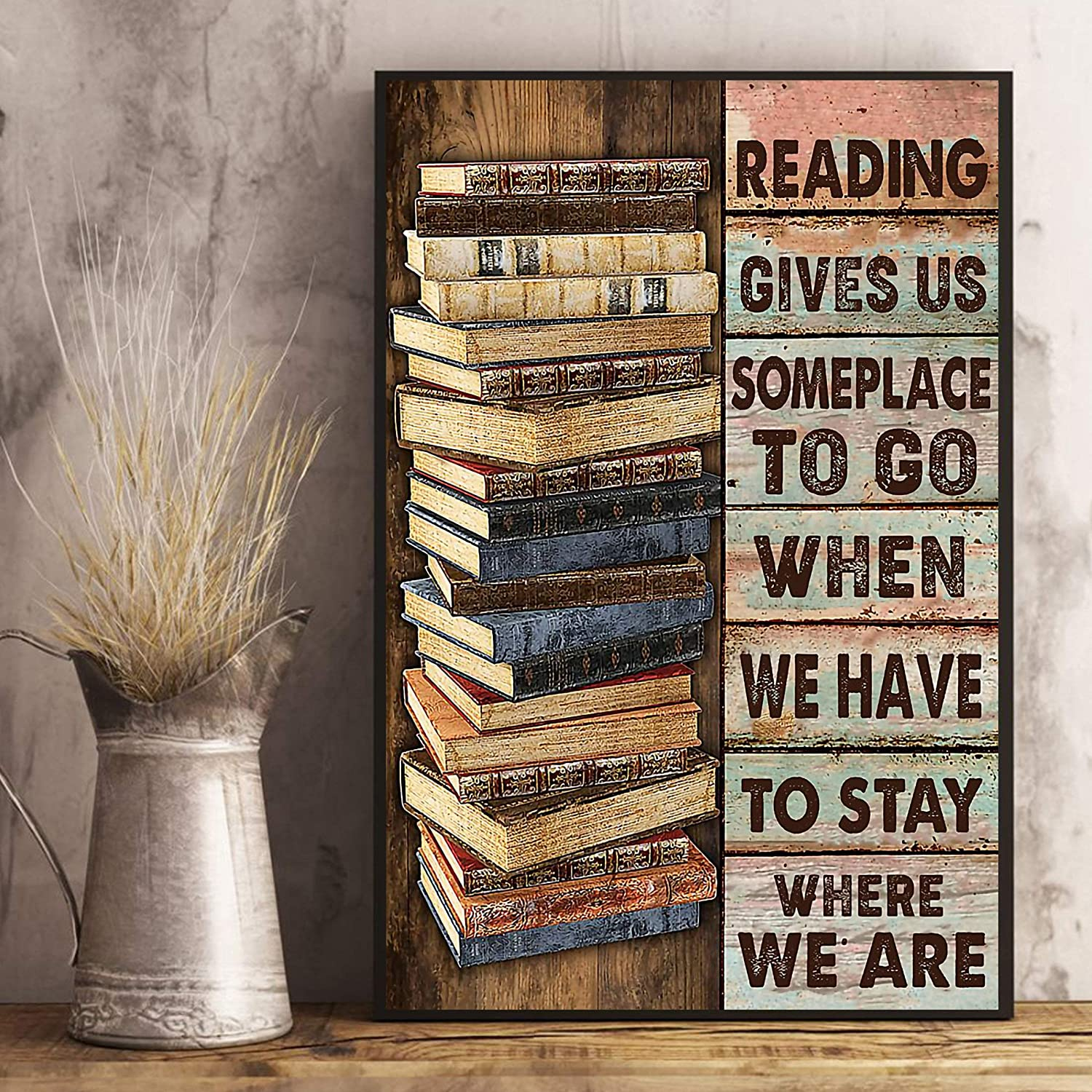 """VinMea Unframed Decorative Art Printing Poster Librarian Reading Gives Us Someplace to Go, Book The Power of A Girl Wall Art Paper Poster Printing Unframed Prints for Wall Decor 12"""" X 16"""""""