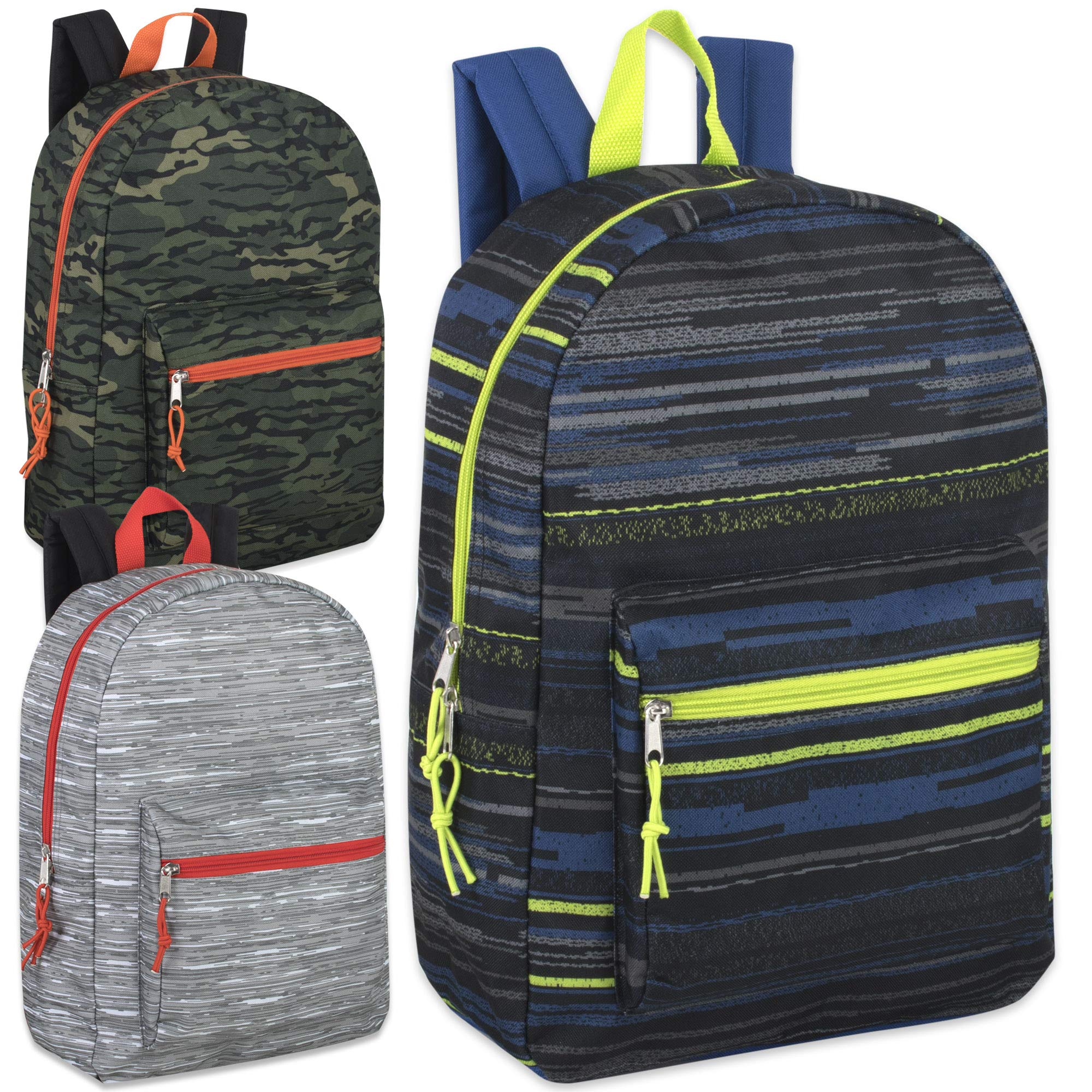 17 Inch Printed Backpacks For Boys & Girls Wholesale Bulk Case Pack Of 24 (Boys 3 Color Assortment) by Trail maker