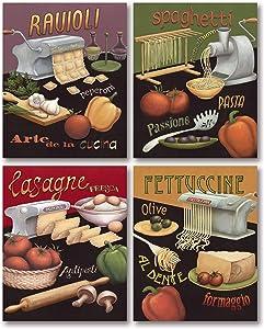 Set of 4 Pasta Prints Italian Kitchen Spaghetti Ravioli Daphne Brissonnet 8x10