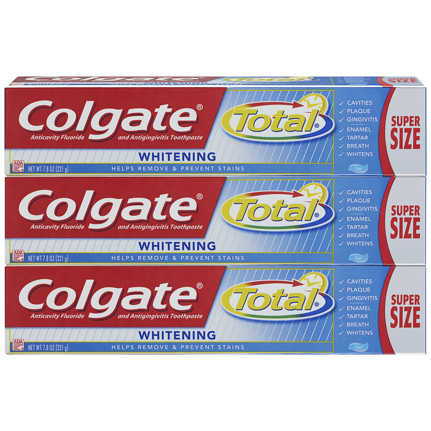 Colgate Total Whitening Toothpaste, Gel - 7.8 ounce (3 Pack)