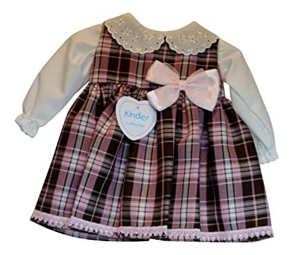 94bf49aed84 Image Unavailable. Image not available for. Colour: Baby Girls Pink Check  Tartan Pinafore Dress ...