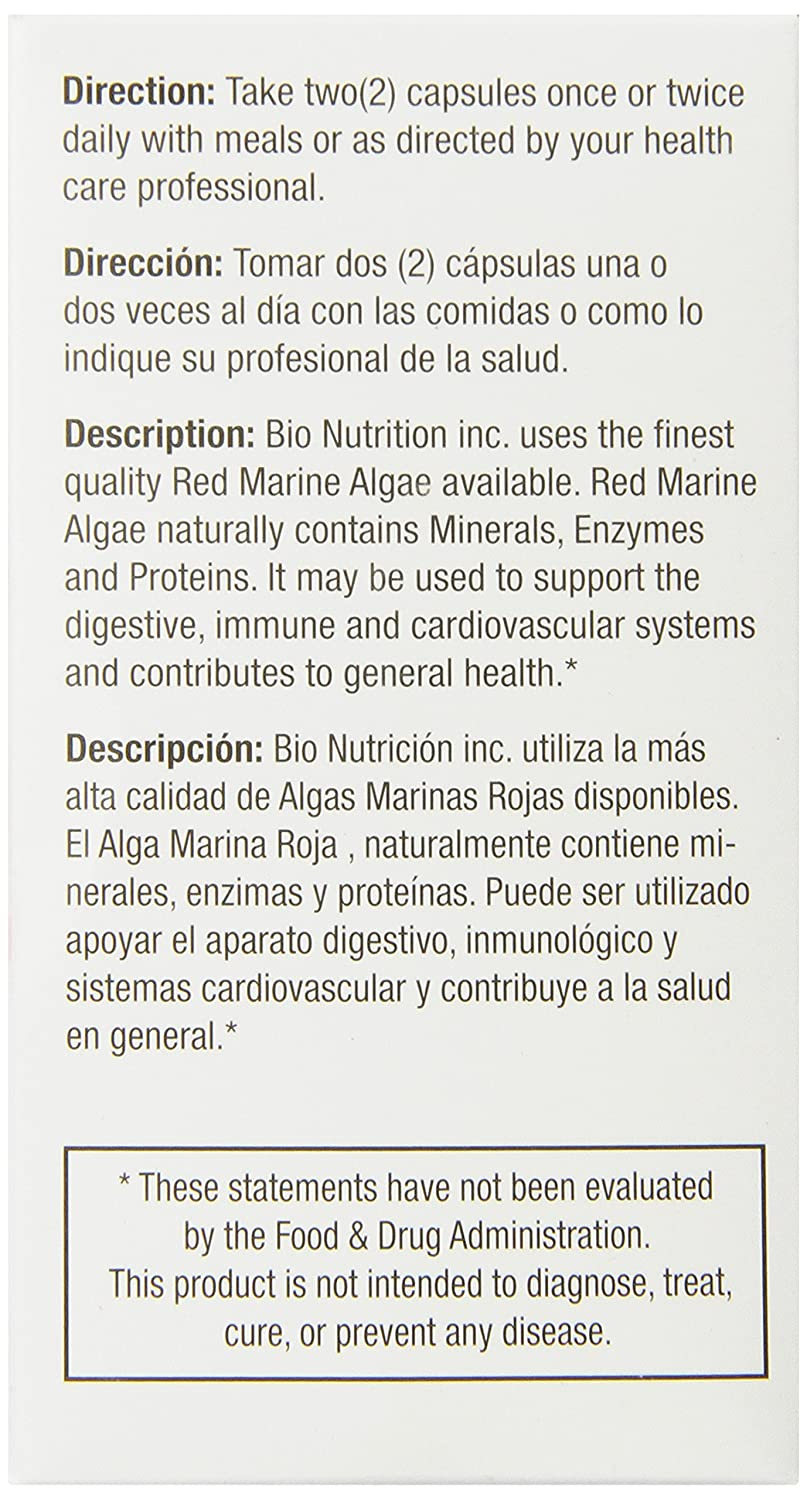Bio Nutrition Red Marine Algae Vegi-Caps, 60 Count, Pack of 2