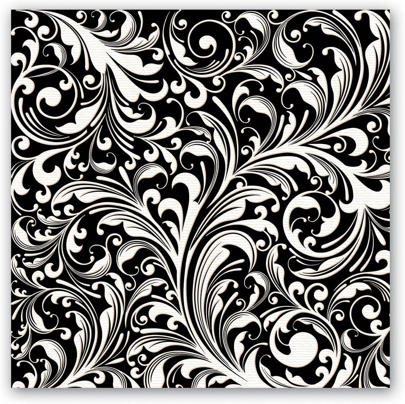 Michel Design Works Luncheon Napkins, Black Florentine