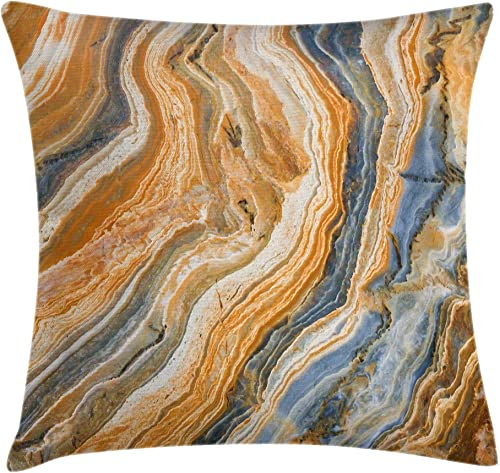 Ambesonne Marble Throw Pillow Cushion Cover, Colorful Rock Quartz Surface Background Formation Abstract Picture, Decorative Square Accent Pillow Case, 24 X 24 , Blue Apricot