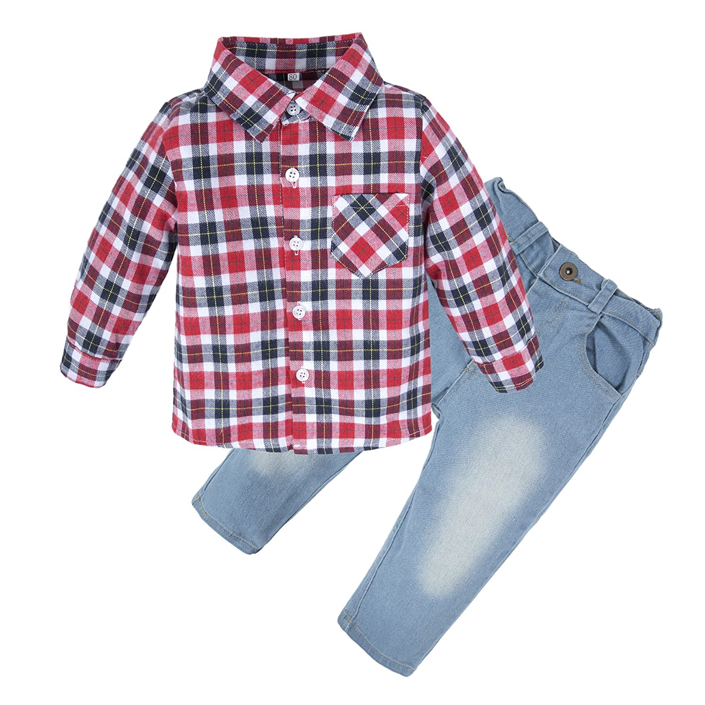 BIG ELEPHANT Kid Boys'2 Pieces Long Sleeve Plaid Shirt Jean Pant Clothing Set T53