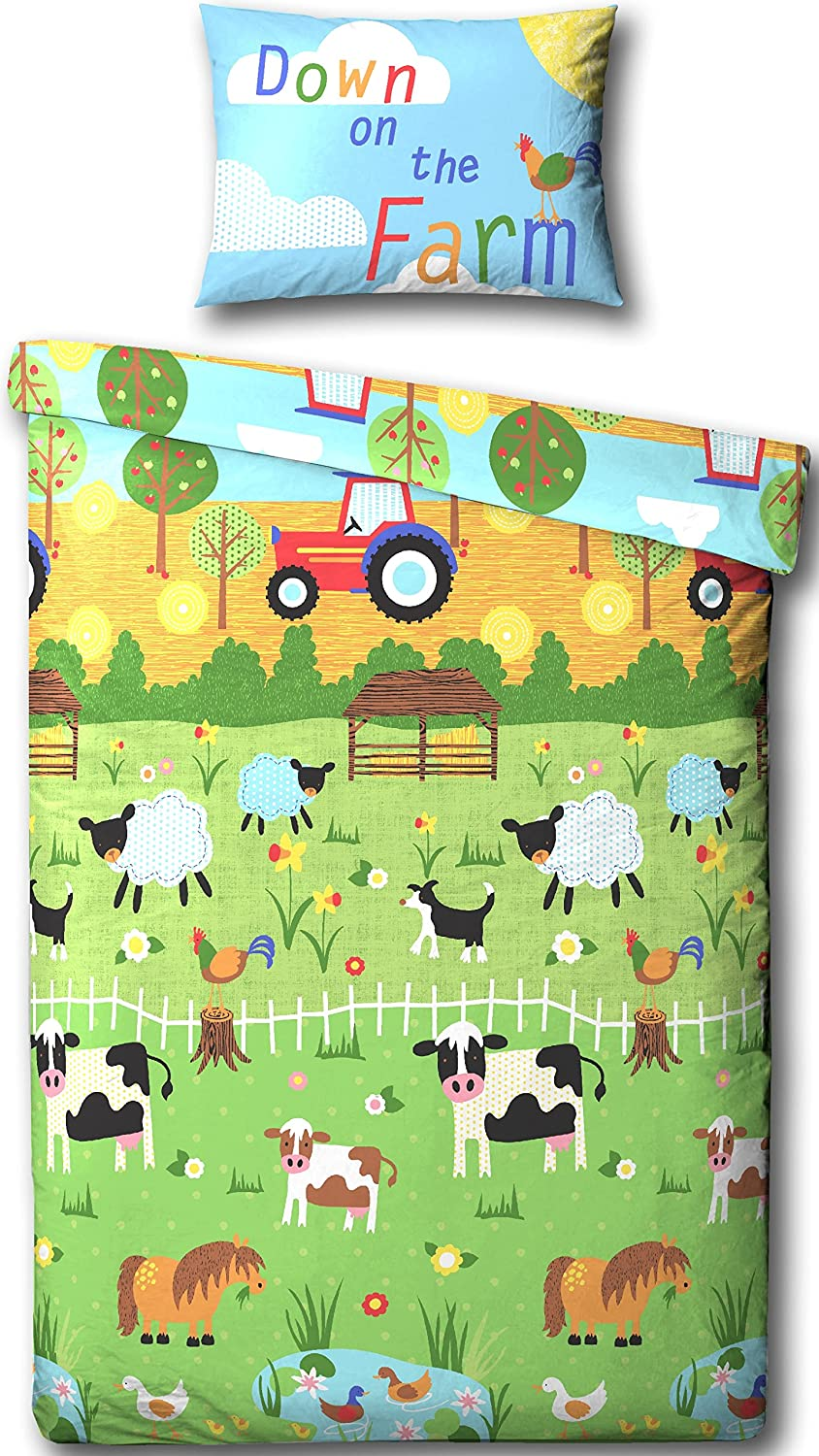 farmyard animals junior bedtoddler bed duvet cover bed set  - farmyard animals junior bedtoddler bed duvet cover bed set  includingmatching pillowcase amazoncouk kitchen  home