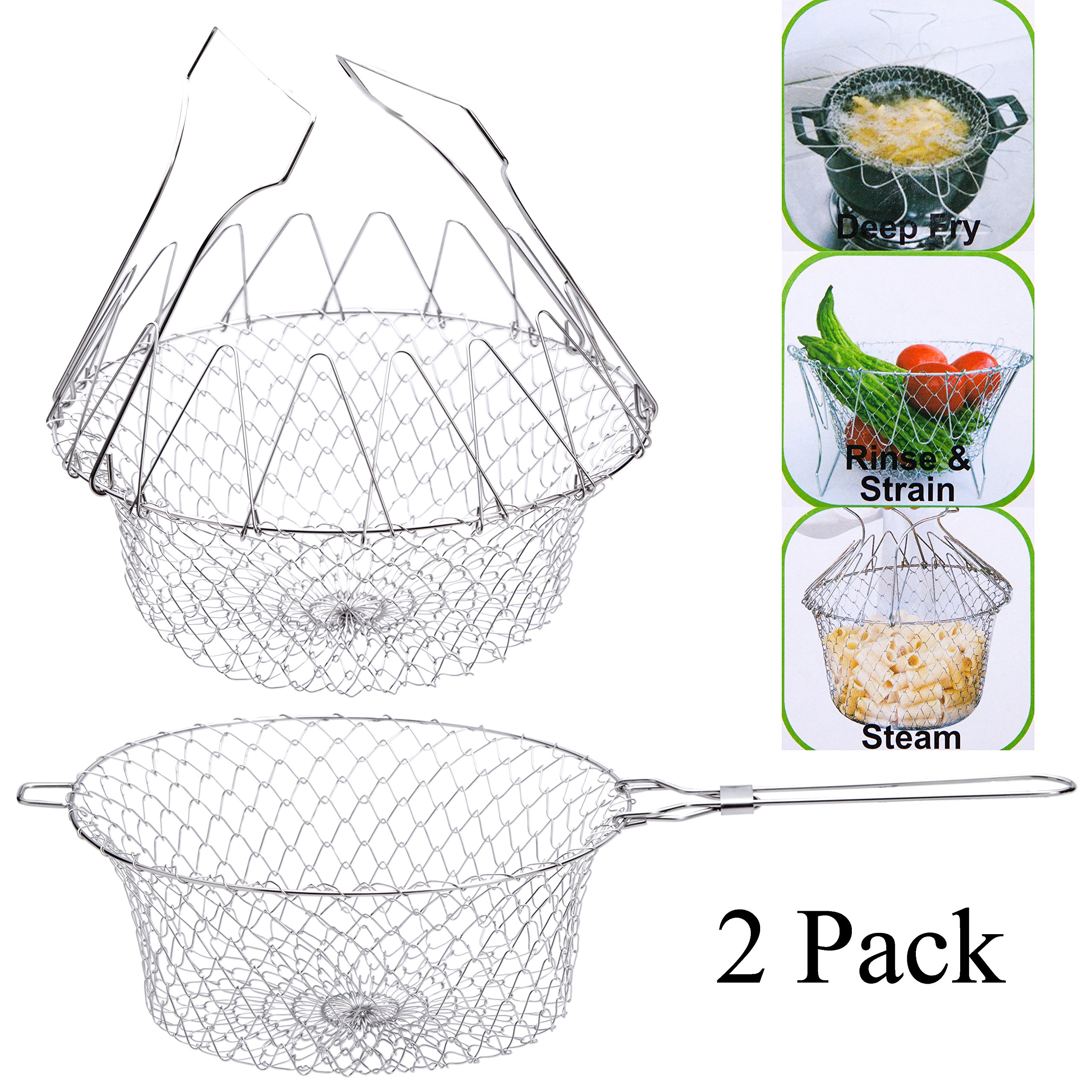 2pcs Chef Deep Fry Basket with Handle, Stainless Steel Foldable Steam Rinse Strain Food Oil Strainer Colander Steamer Kitchen Cooking Net for French Fires Fruits Vegetables Spaghetti Gift