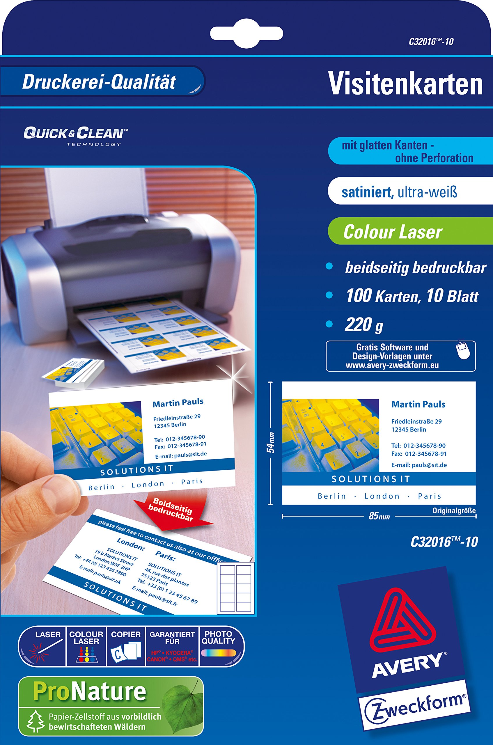 Avery Zweckform Business Cards Quick&Clean Colour Laser Surface Structure 220 g/m² DIN A4 85 x 54 mm Satined Ultra White 5000 Cards 500 Sheets