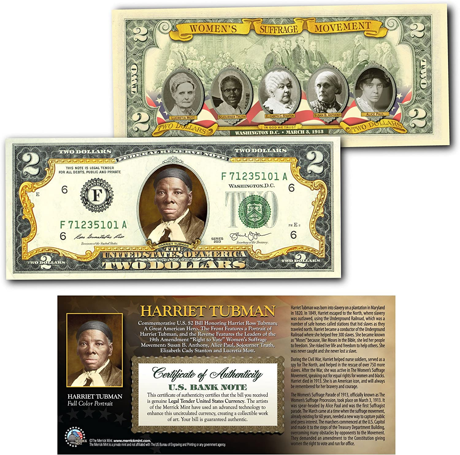 Amazon Com Harriet Tubman World Release Official Genuine Legal Tender Colorized 2 Bill Everything Else