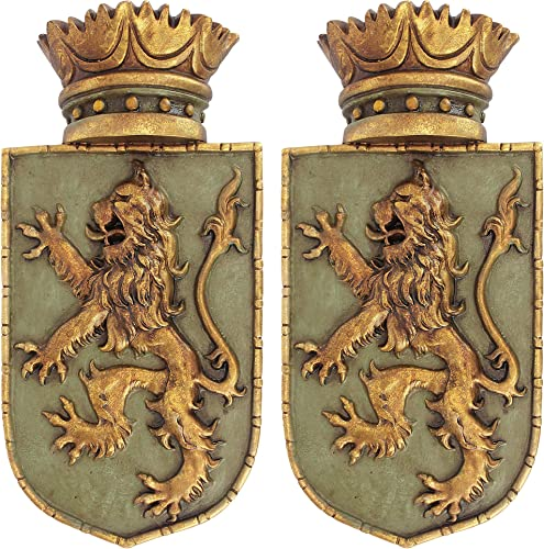 Design Toscano Medieval Rampant Lion Crest Medieval Decor Wall Sculpture
