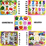 Wish key Wooden Educational Colorful Fruits, Numbers, Geometric Shapes, Animals, Vehicles Puzzle Board (Multicolour) - Set of 5