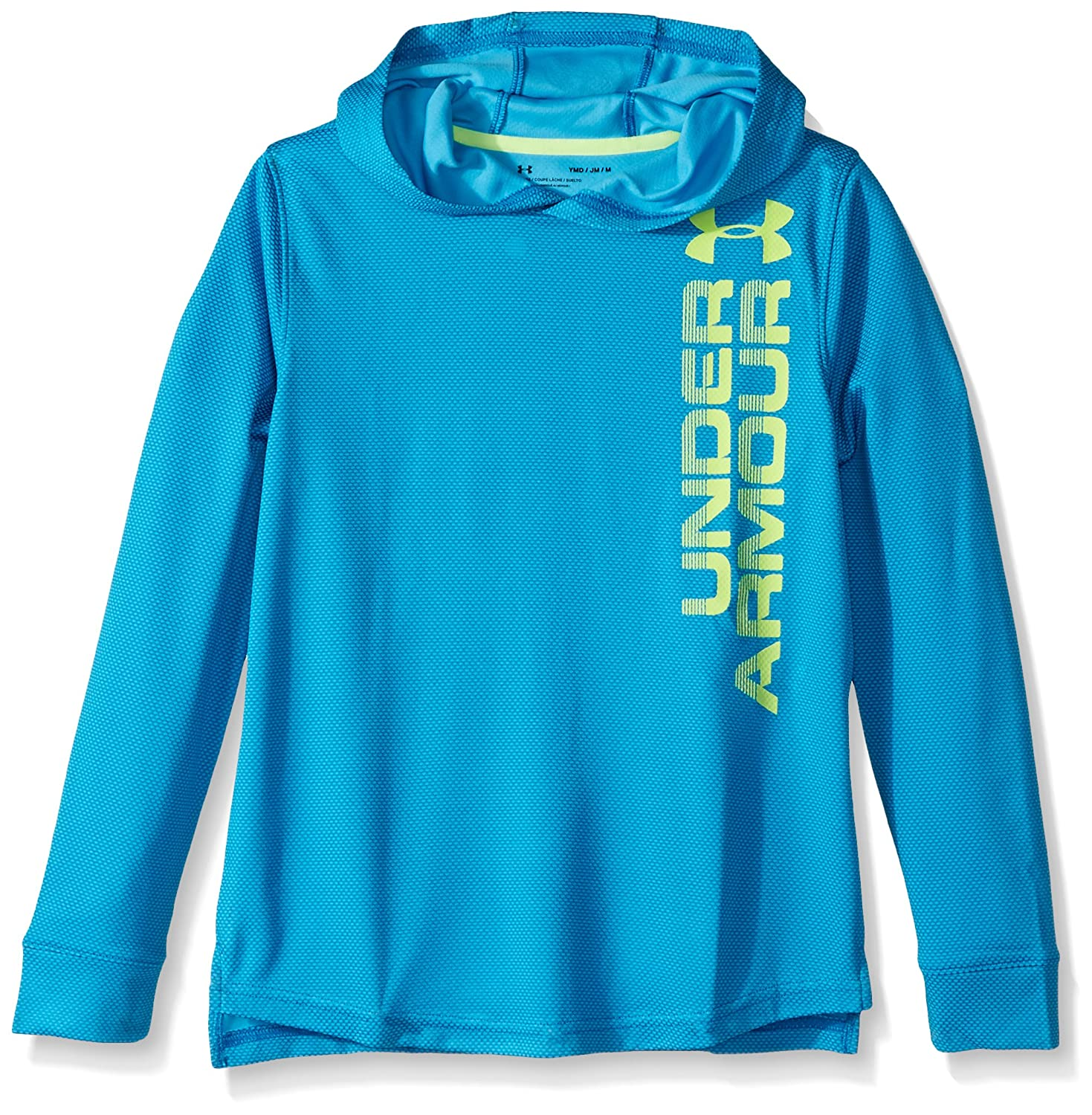 Under Armour Boys ' Textured Tech Hoody B01NBI85HY Youth Medium|Cruise Blue/Quirky Lime Cruise Blue/Quirky Lime Youth Medium