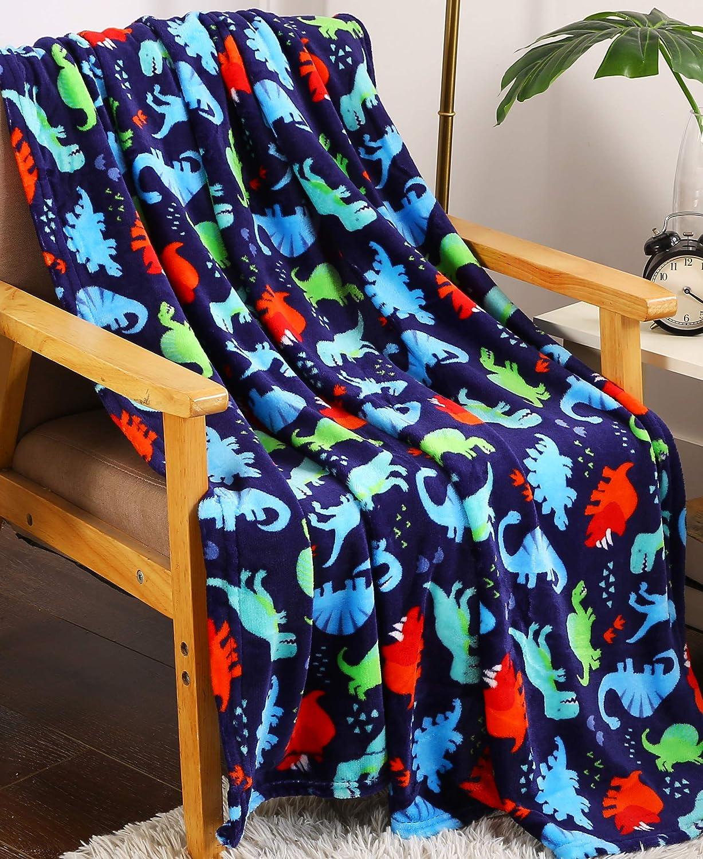 """Summertime Whimsy Plush Fleece Throw Blanket (50"""" x 60"""") - Dino Time"""